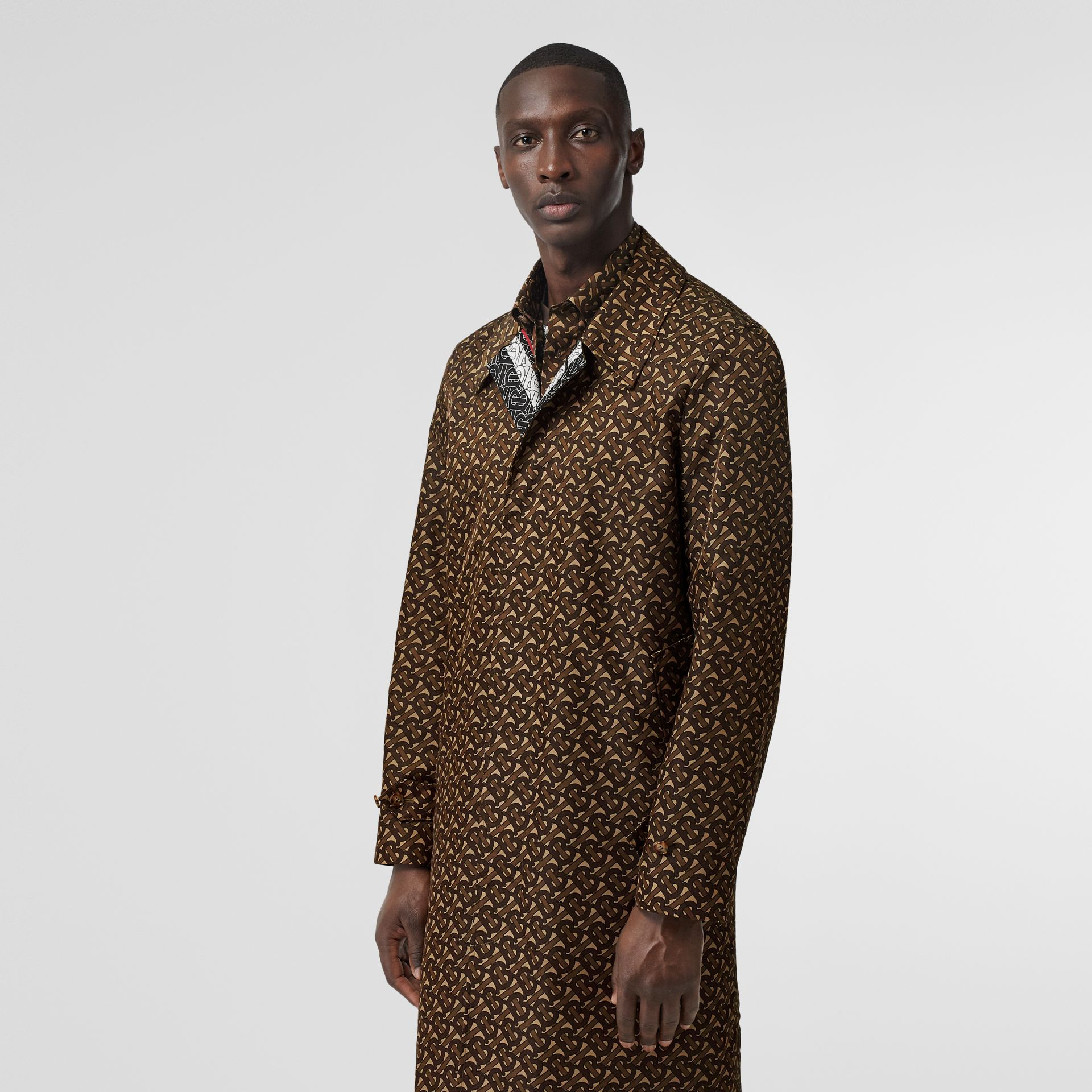 Monogram Stripe Print Nylon Car Coat in Bridle Brown - Men | Burberry United Kingdom - gallery image 6