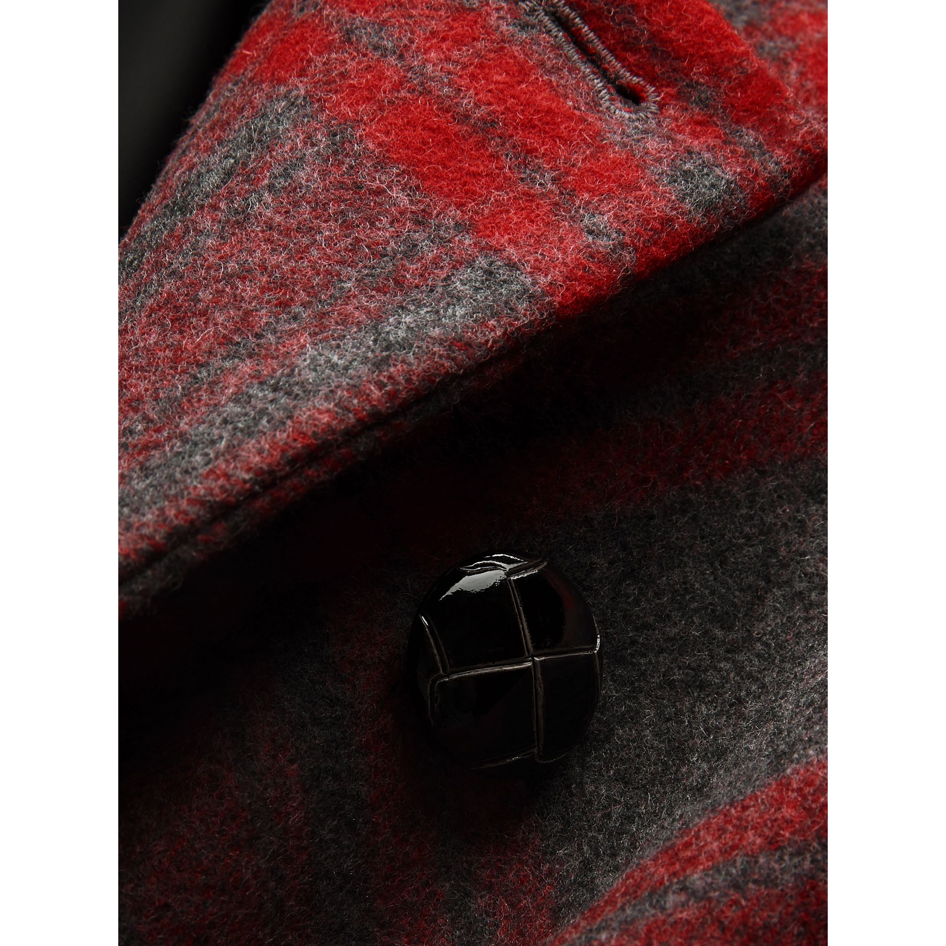 Tartan Wool Tailored Coat in Military Red | Burberry Canada - gallery image 4