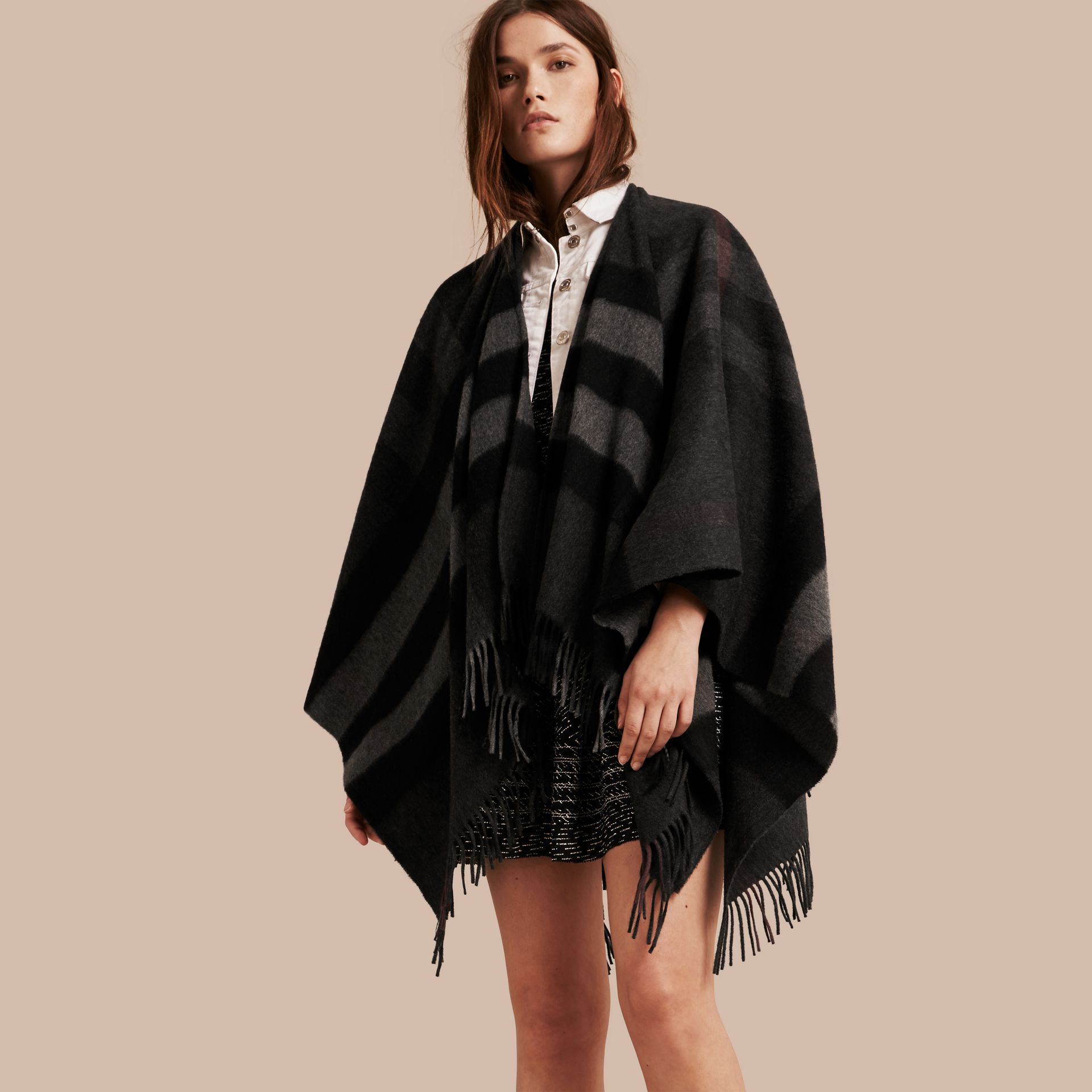 Charcoal Check Cashmere and Wool Poncho Charcoal - gallery image 1