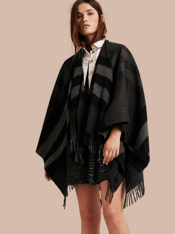 Check Cashmere and Wool Poncho Charcoal