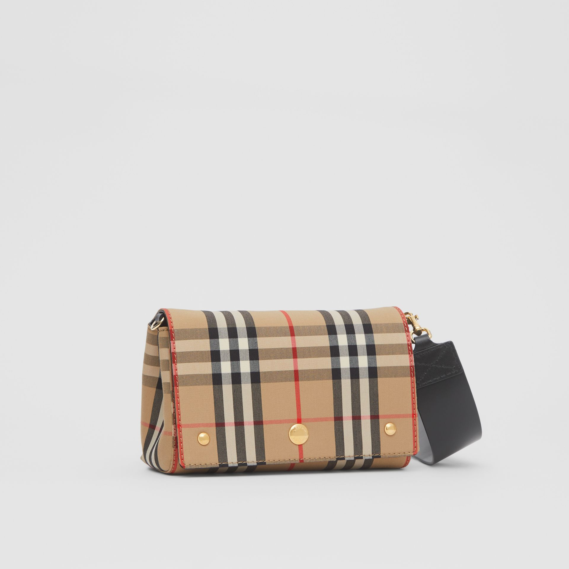 Small Vintage Check and Leather Crossbody Bag in Archive Beige - Women | Burberry - gallery image 6
