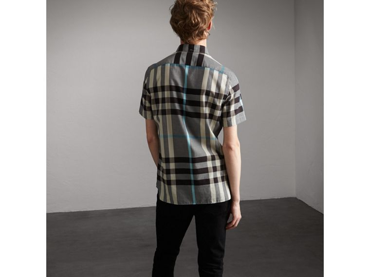 Button-down Collar Short-sleeve Check Cotton Shirt in Mist Grey - Men | Burberry - cell image 1