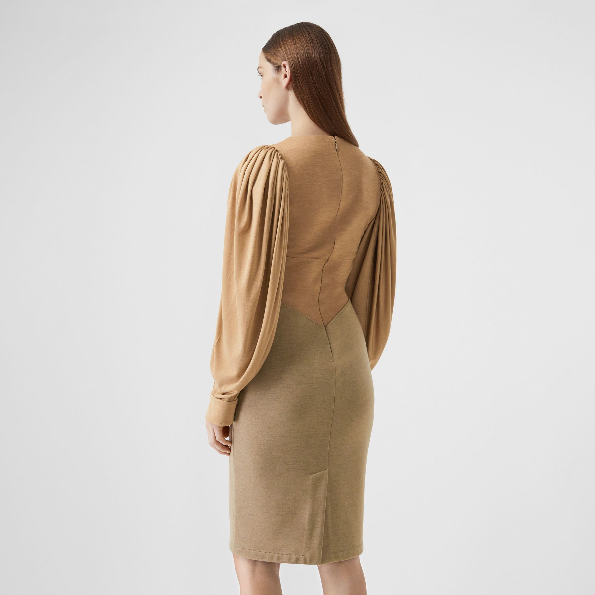Panelled Wool Silk Jersey Dress in Pecan Melange - Women | Burberry - gallery image 1