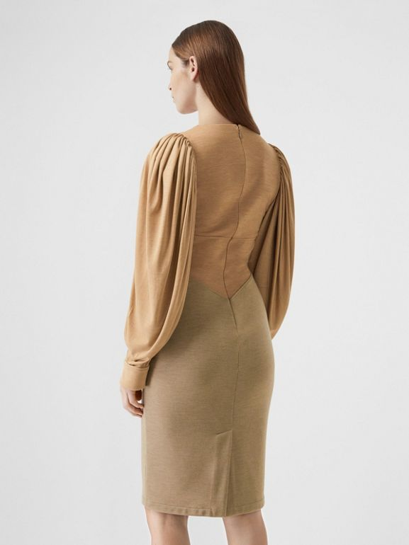 Panelled Wool Silk Jersey Dress in Pecan Melange - Women | Burberry - cell image 1