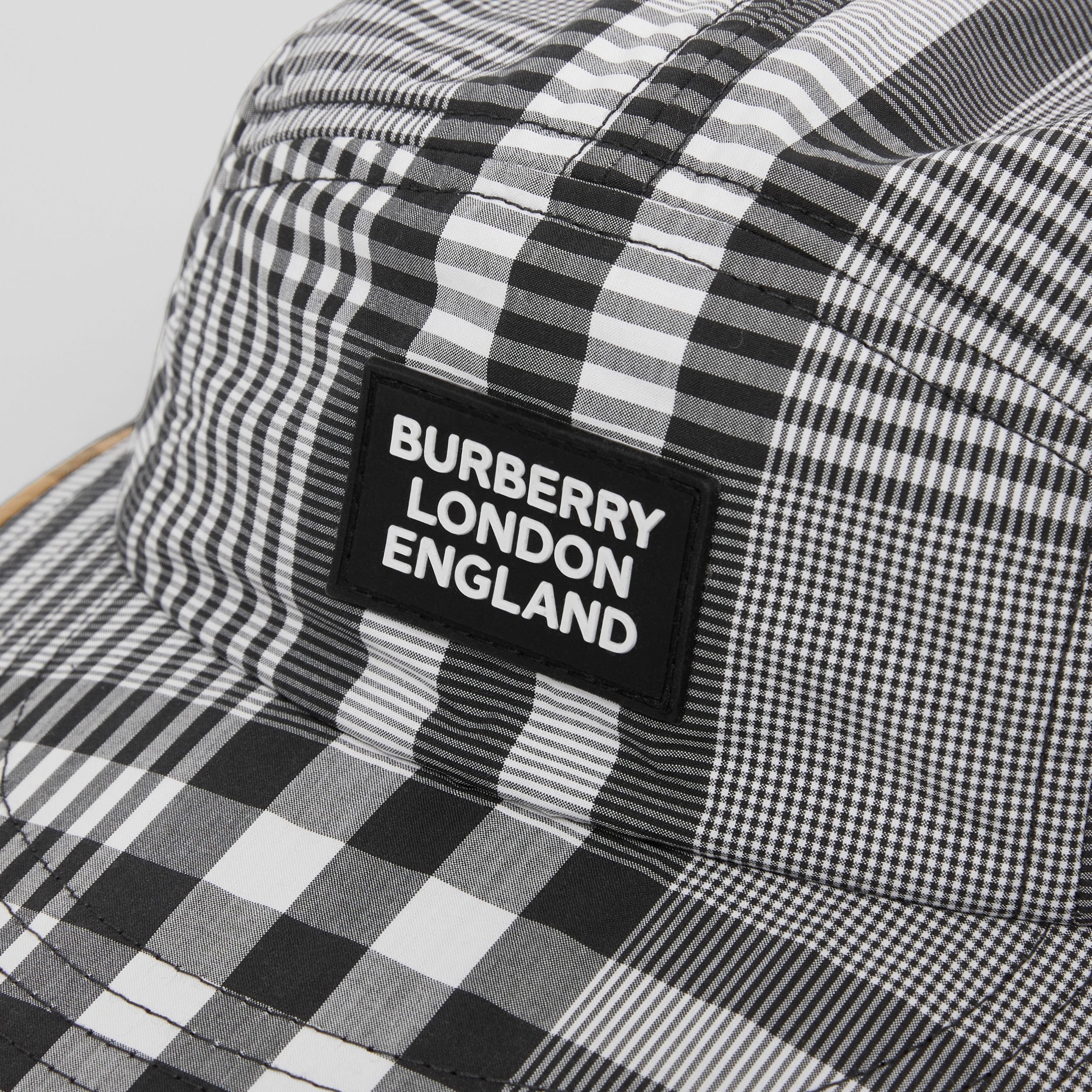 Logo Appliqué Check Cotton Poplin Cap in Black/white - Children | Burberry - 2
