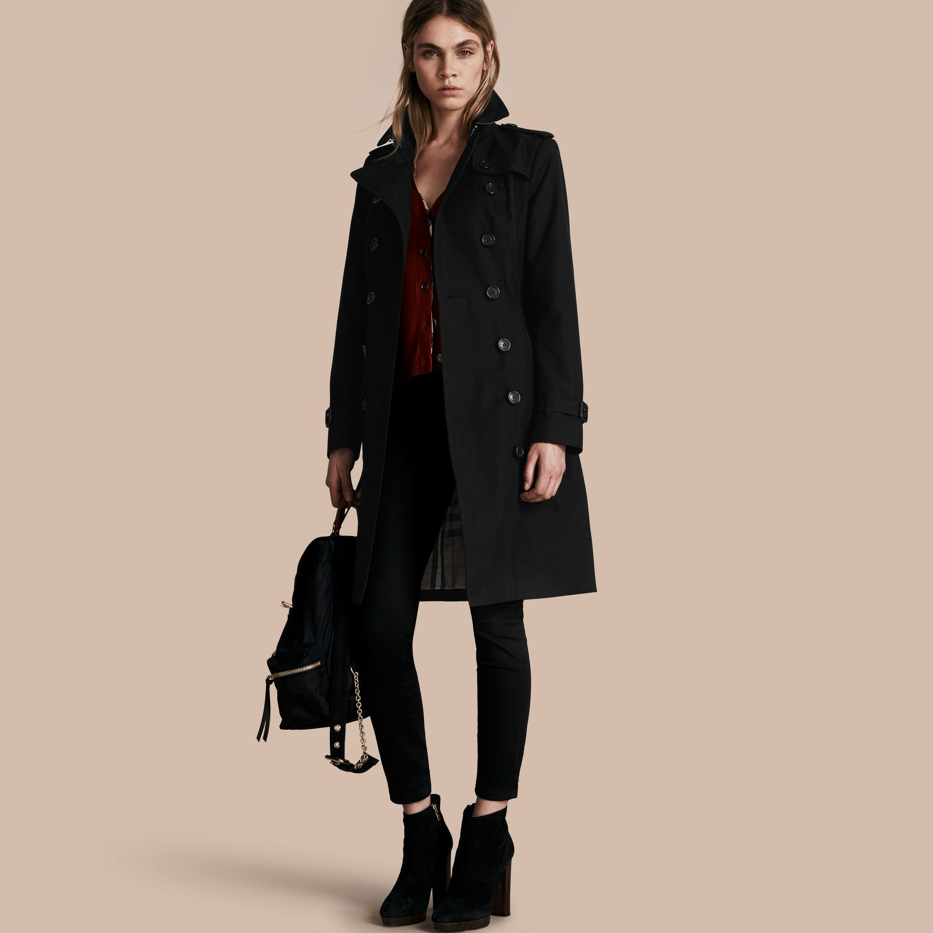 Black The Sandringham – Long Heritage Trench Coat Black - gallery image 1