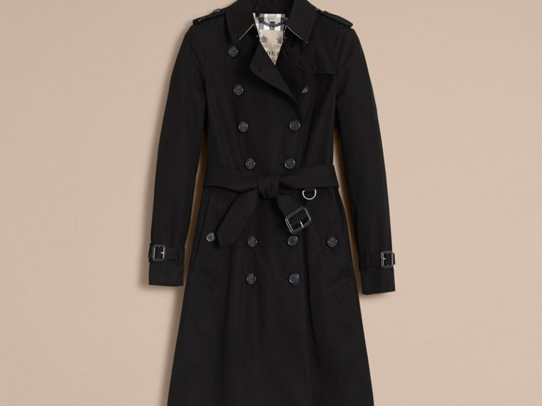 Black The Chelsea – Long Heritage Trench Coat Black - cell image 4
