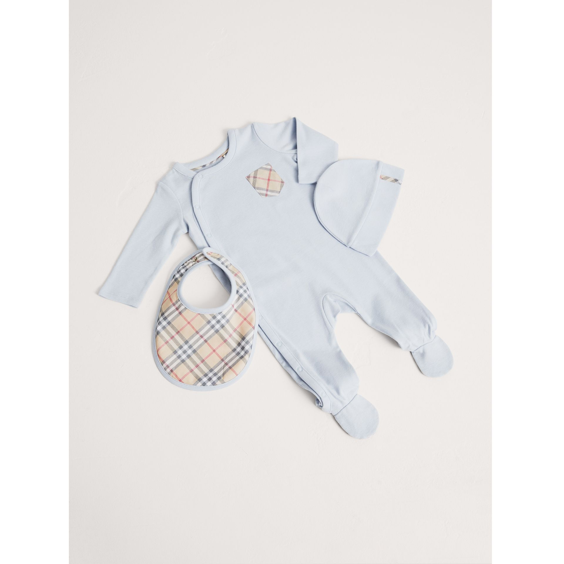 Check Cotton Three-piece Baby Gift Set in Ice Blue | Burberry Canada - gallery image 1
