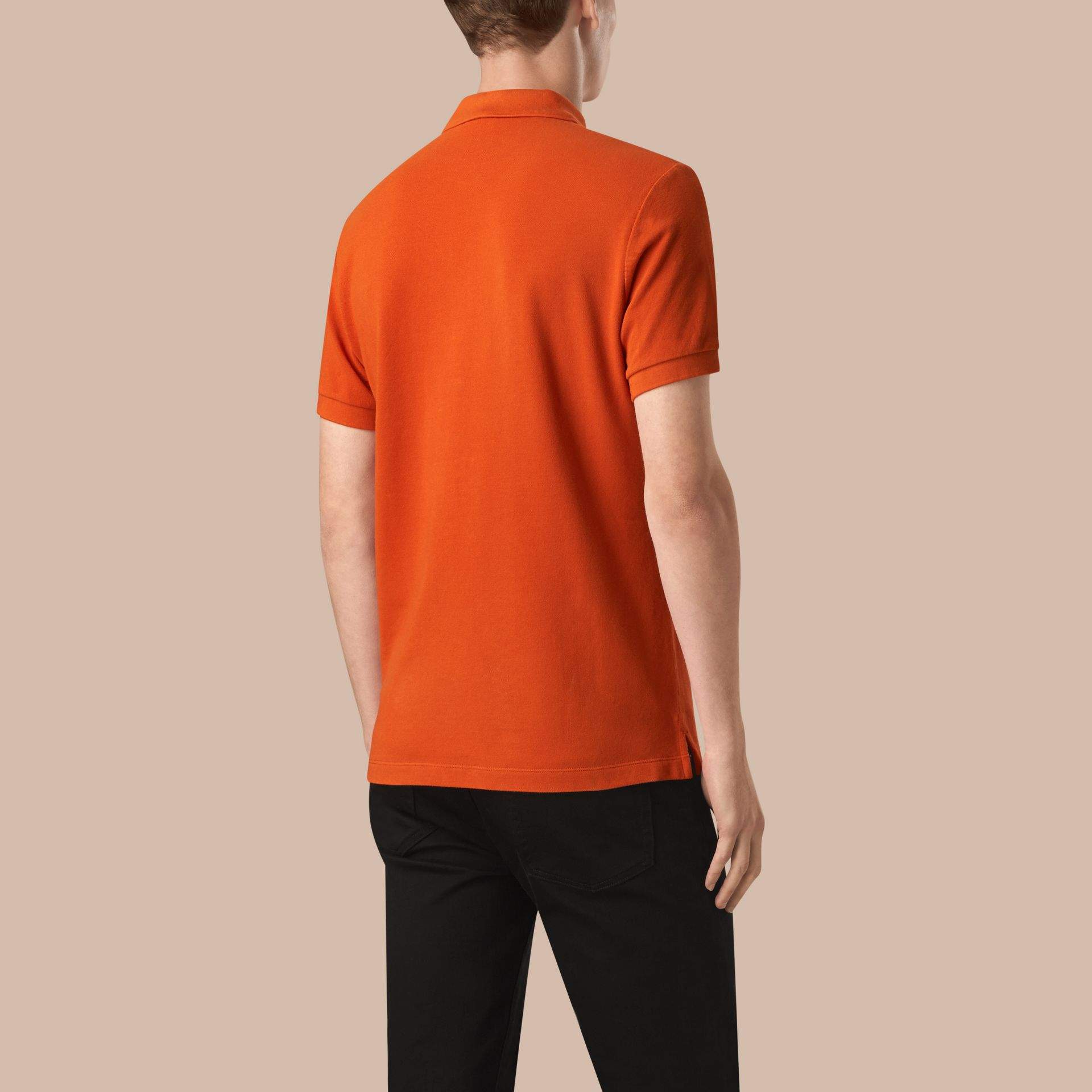Orange red Check Placket Cotton Piqué Polo Shirt Orange Red - gallery image 2