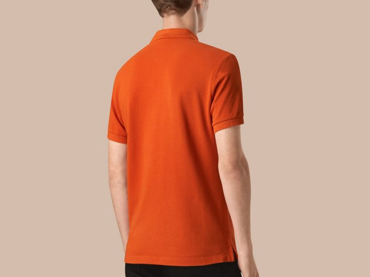 Orange red Check Placket Cotton Piqué Polo Shirt Orange Red - cell image 1