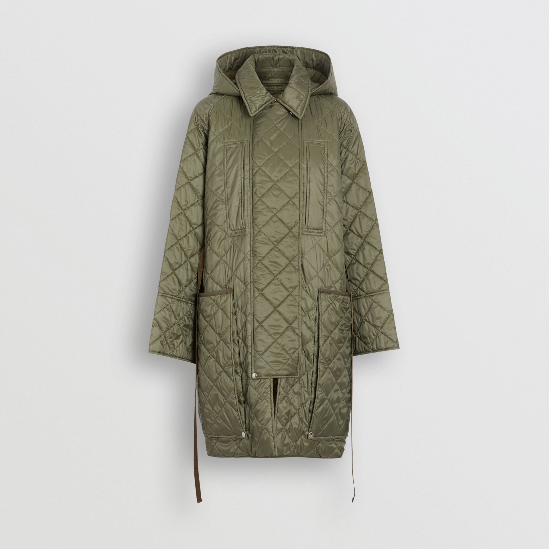 Lightweight Diamond Quilted Hooded Coat in Cadet Green - Women | Burberry - gallery image 2