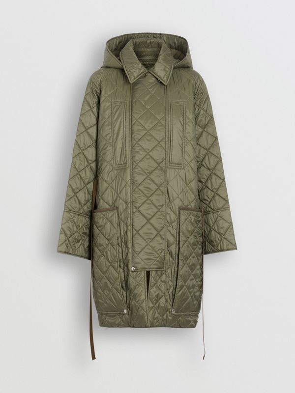 Lightweight Diamond Quilted Hooded Coat in Cadet Green - Women | Burberry - cell image 2