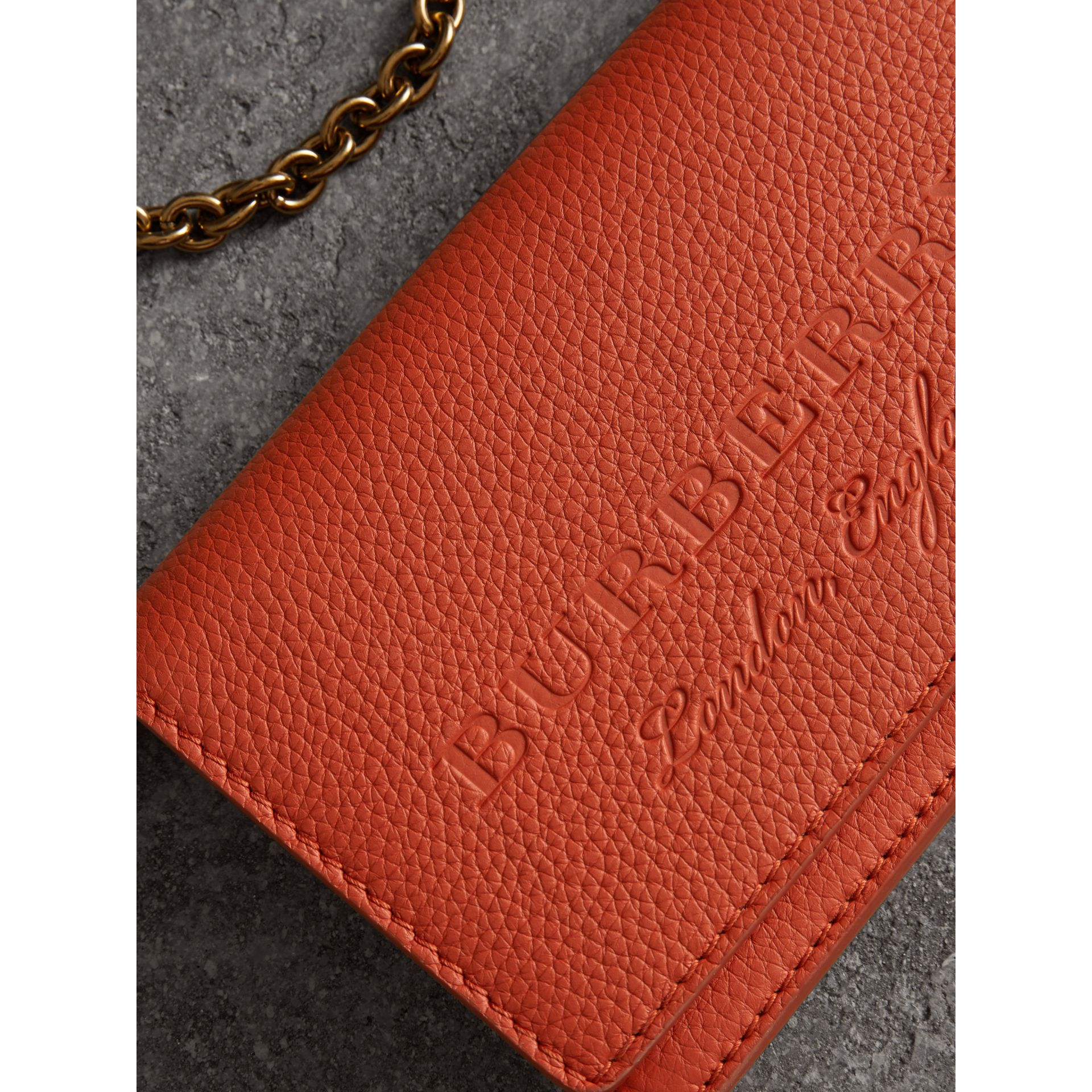 Embossed Leather Wallet with Detachable Strap in Dark Clementine - Women | Burberry - gallery image 1