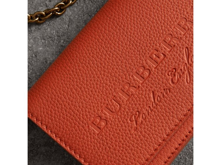 Embossed Leather Wallet with Detachable Strap in Dark Clementine - Women | Burberry - cell image 1