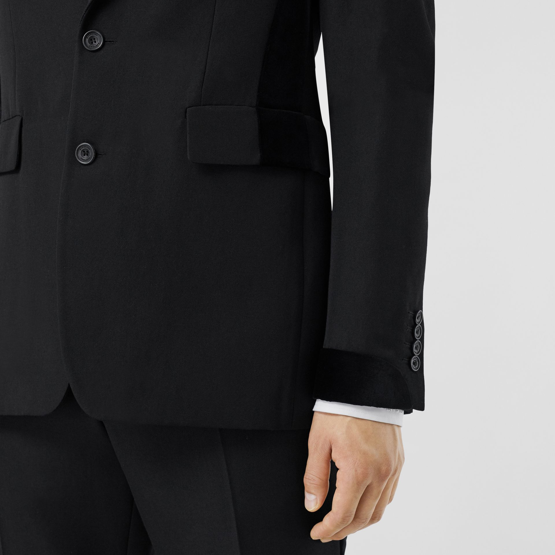 Classic Fit Velvet Trim Wool Tailored Jacket in Black - Men | Burberry Australia - gallery image 4