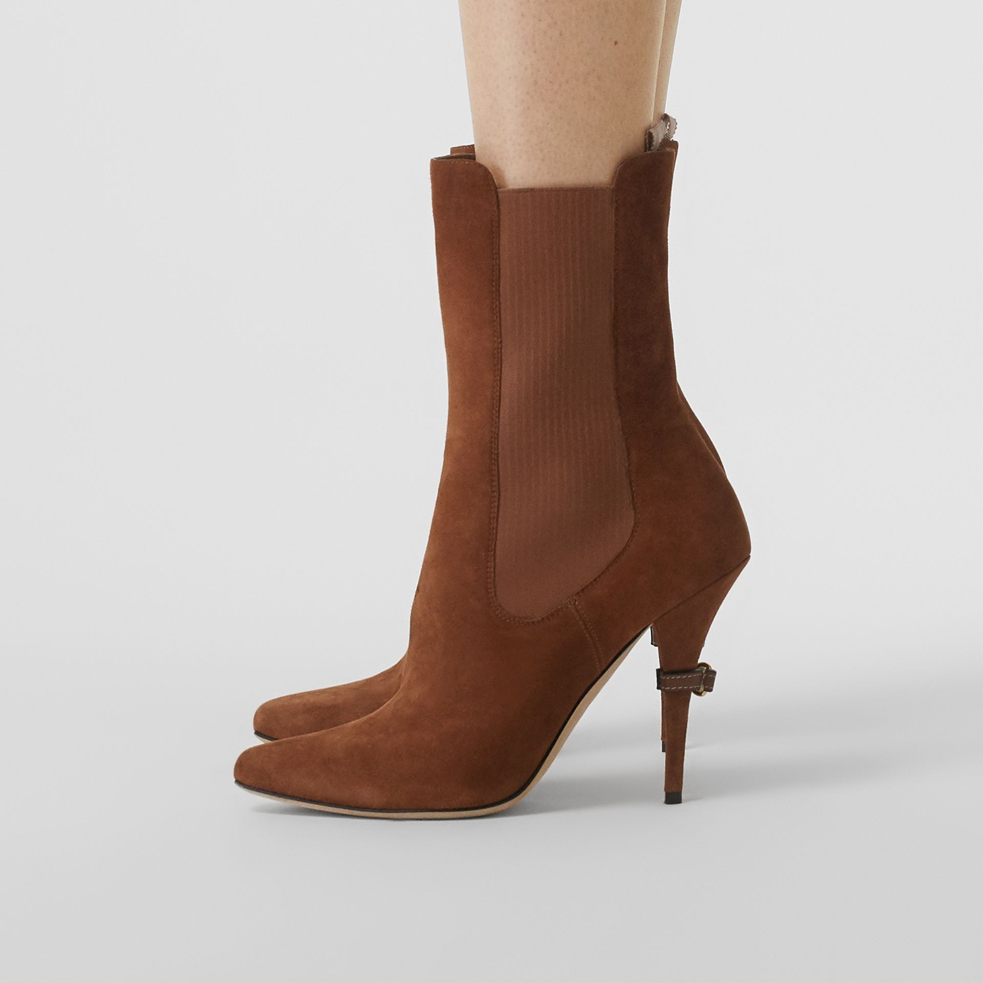 D-ring Detail Suede Ankle Boots in Tan - Women | Burberry - gallery image 2