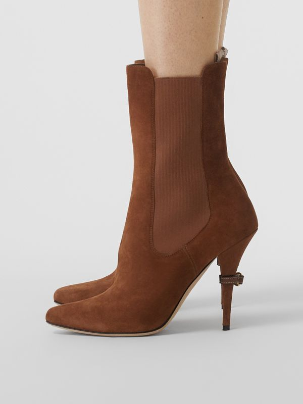 D-ring Detail Suede Ankle Boots in Tan - Women | Burberry Singapore - cell image 2