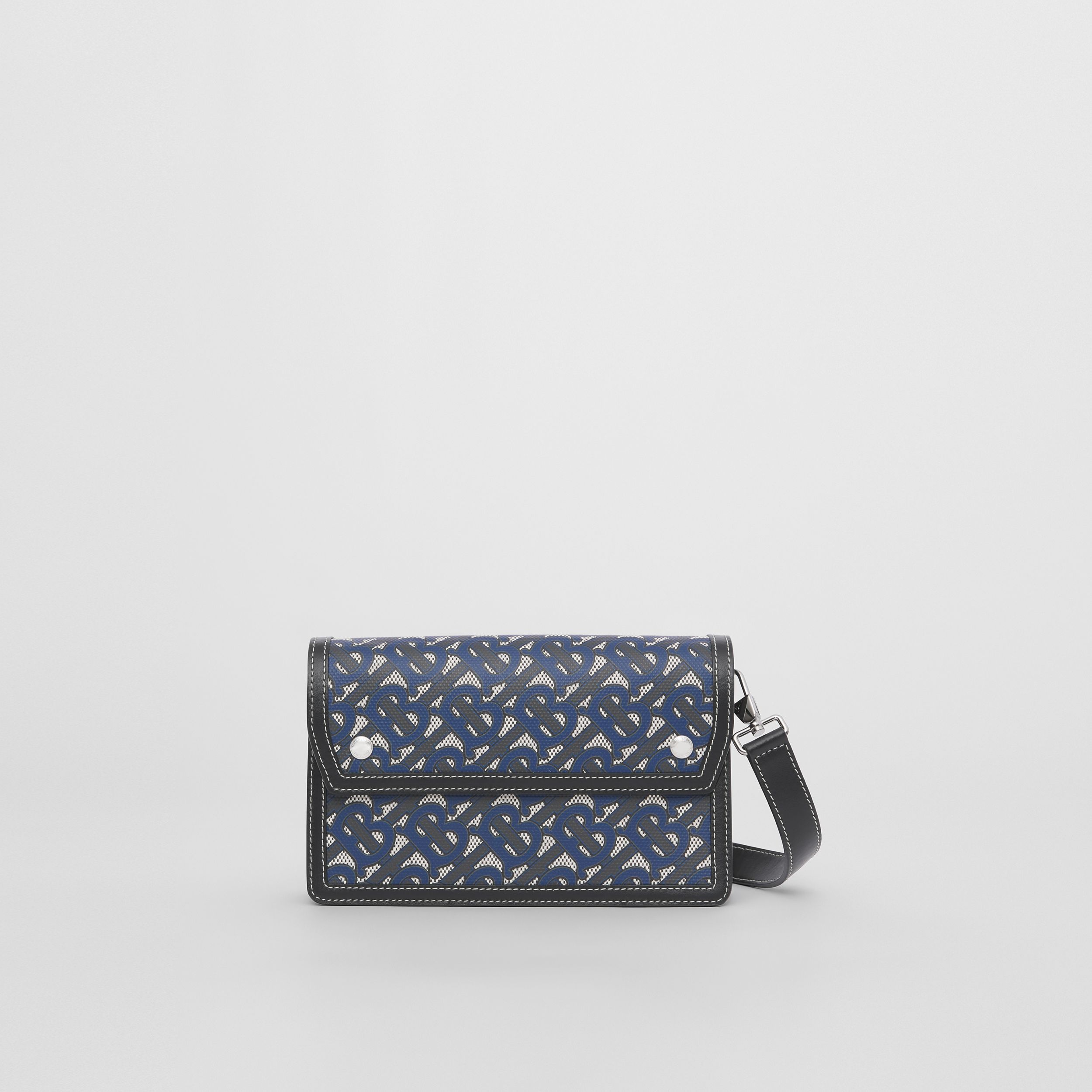 Monogram Print Canvas and Leather Crossbody Bag in Ink Blue - Men | Burberry - 1