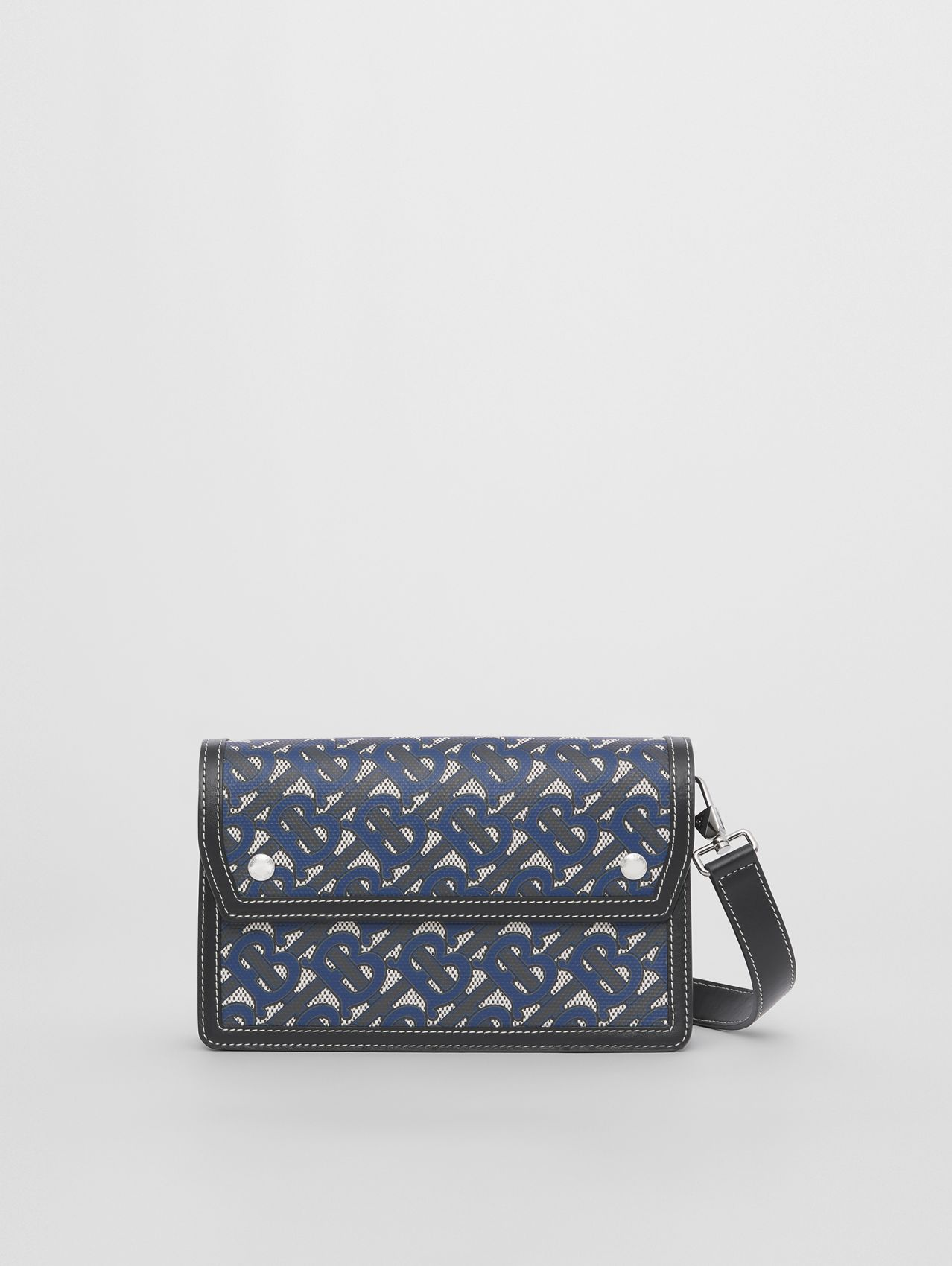 Monogram Print Canvas and Leather Crossbody Bag in Ink Blue
