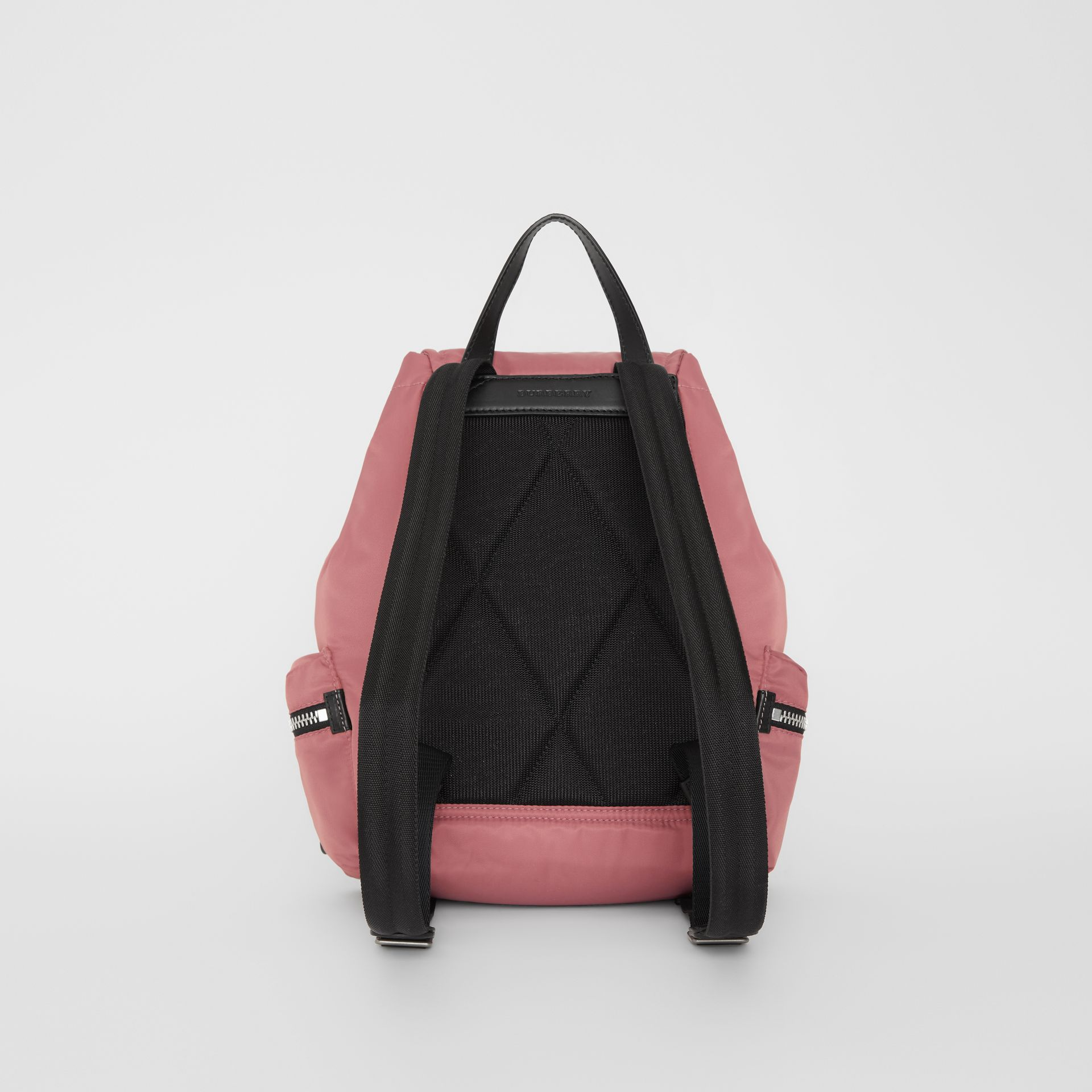 The Medium Rucksack in Puffer Nylon and Leather in Mauve Pink - Women | Burberry - gallery image 7