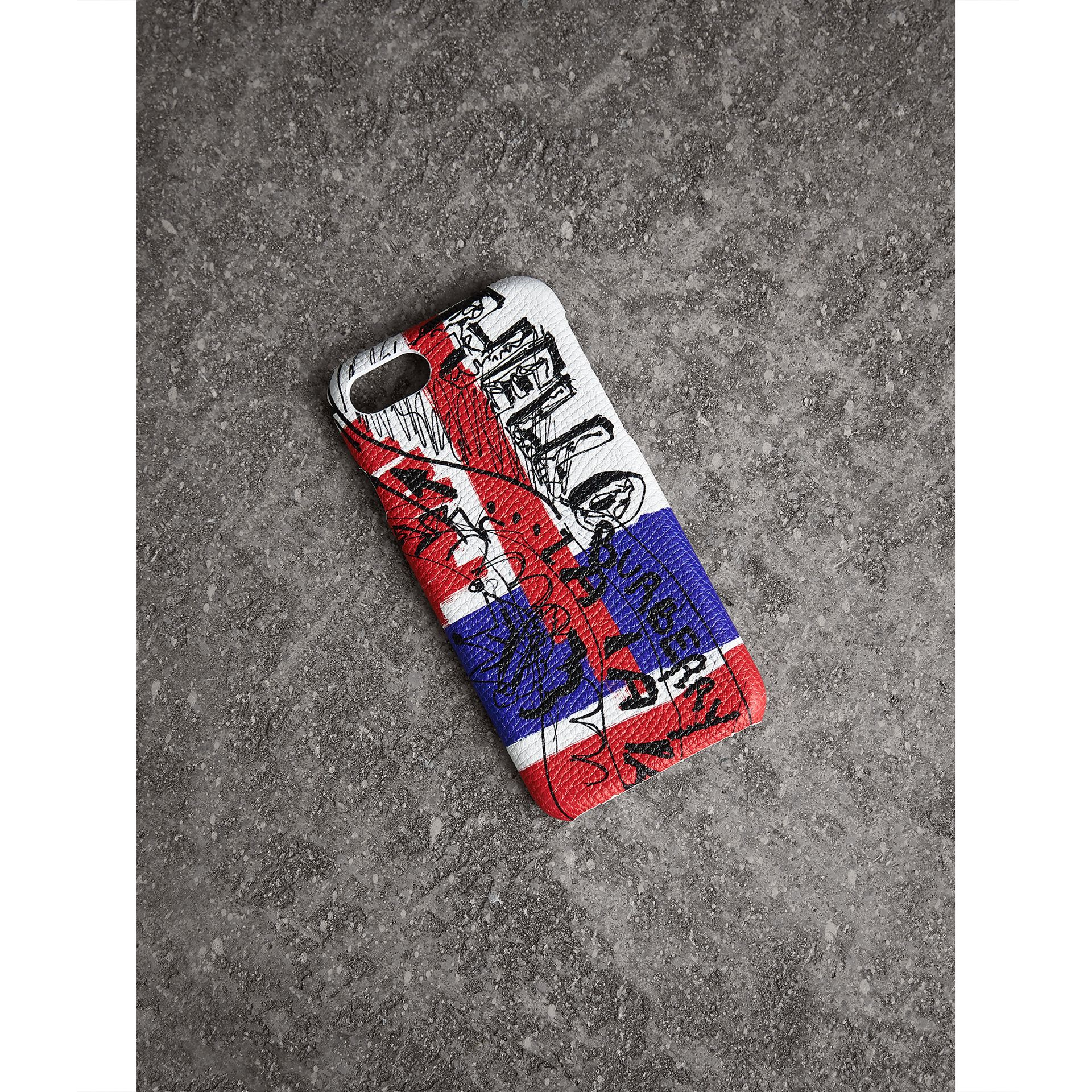 Doodle Print Leather iPhone 7 Case in Red/blue | Burberry United Kingdom - gallery image 1