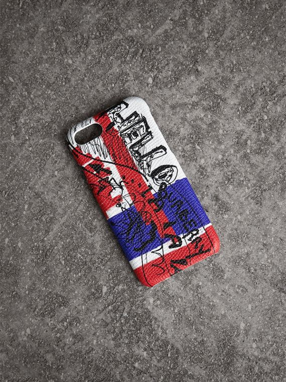 Doodle Print Leather iPhone 7 Case in Red/blue