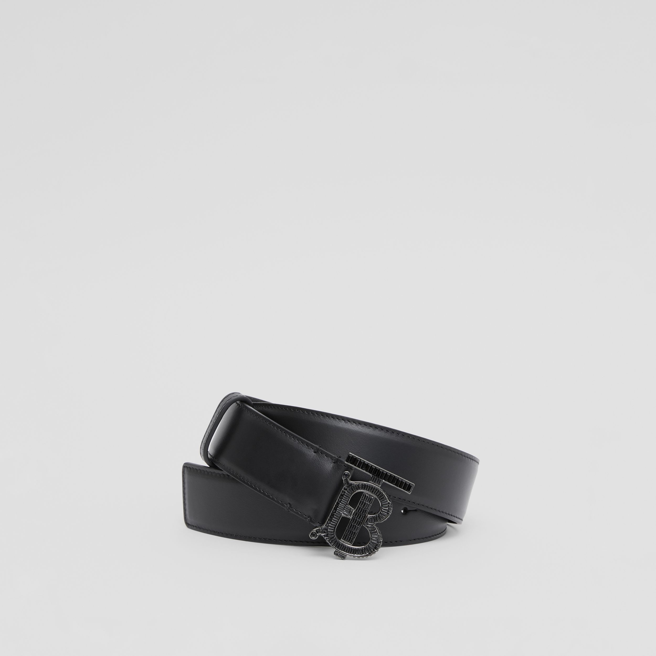 Crystal Monogram Motif Leather Belt in Black | Burberry - 1