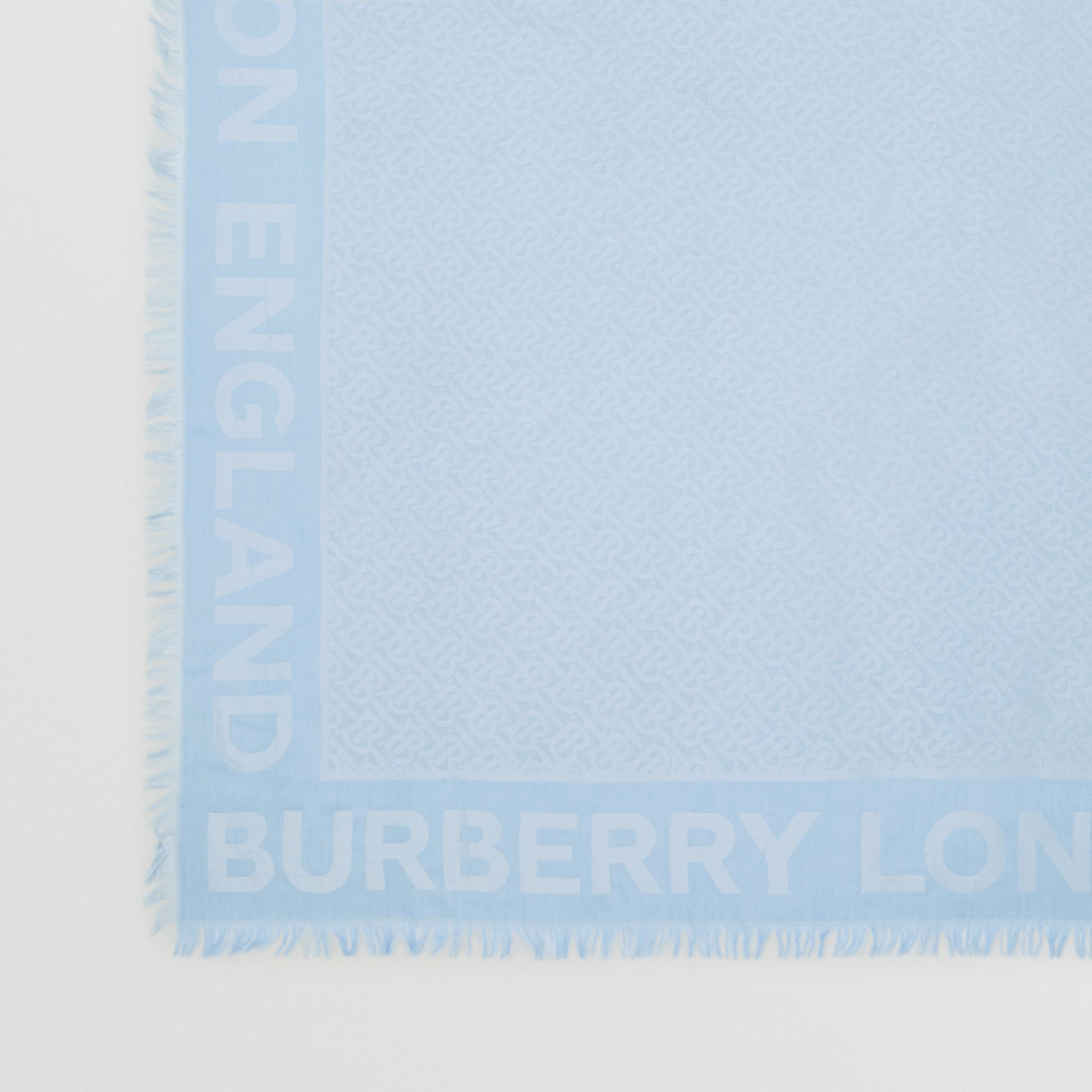 Monogram Silk Wool Jacquard Large Square Scarf in Pale Blue | Burberry - gallery image 1