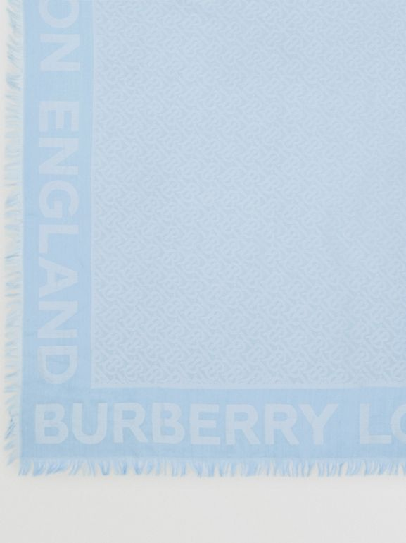 Monogram Silk Wool Jacquard Large Square Scarf in Pale Blue | Burberry - cell image 1