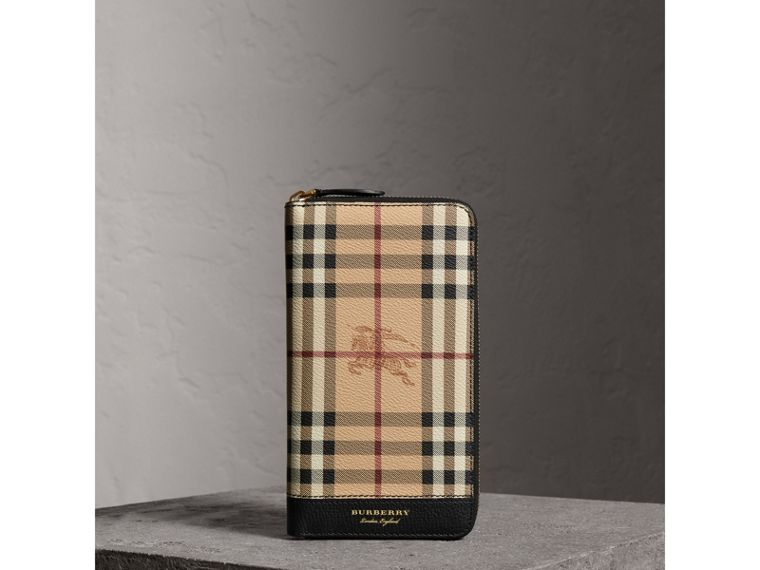 Haymarket Check and Leather Ziparound Wallet in Black - Men | Burberry United Kingdom - cell image 4