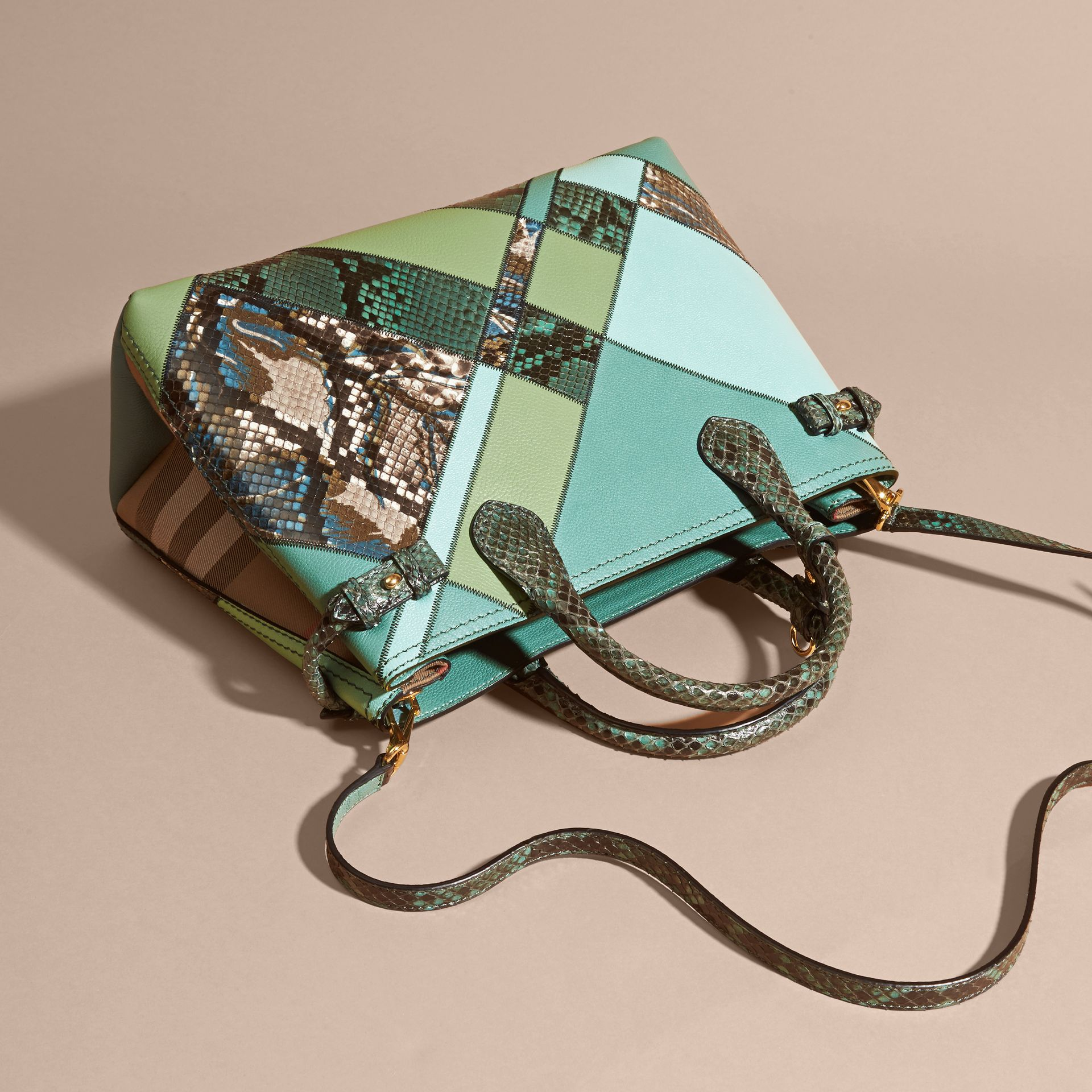 The Medium Banner in Patchwork Leather and Python Celadon Blue - gallery image 8