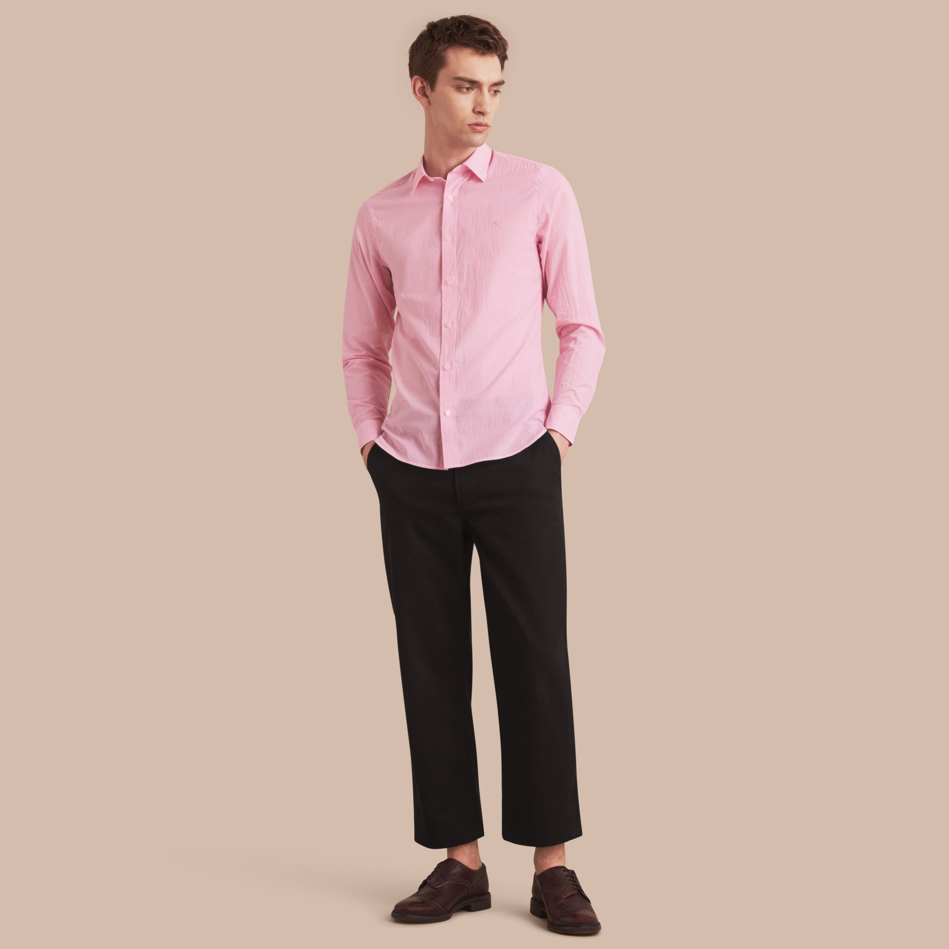 Striped Cotton Blend Shirt in Pale Pink - Men | Burberry - gallery image 1