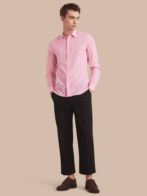 Striped Cotton Blend Shirt Pale Pink