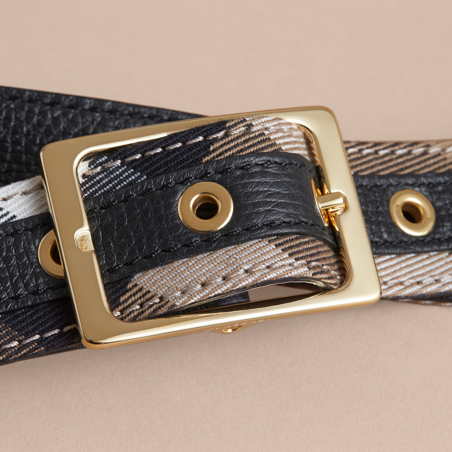 Reversible House Check and Grainy Leather Belt - Women | Burberry - gallery image 2