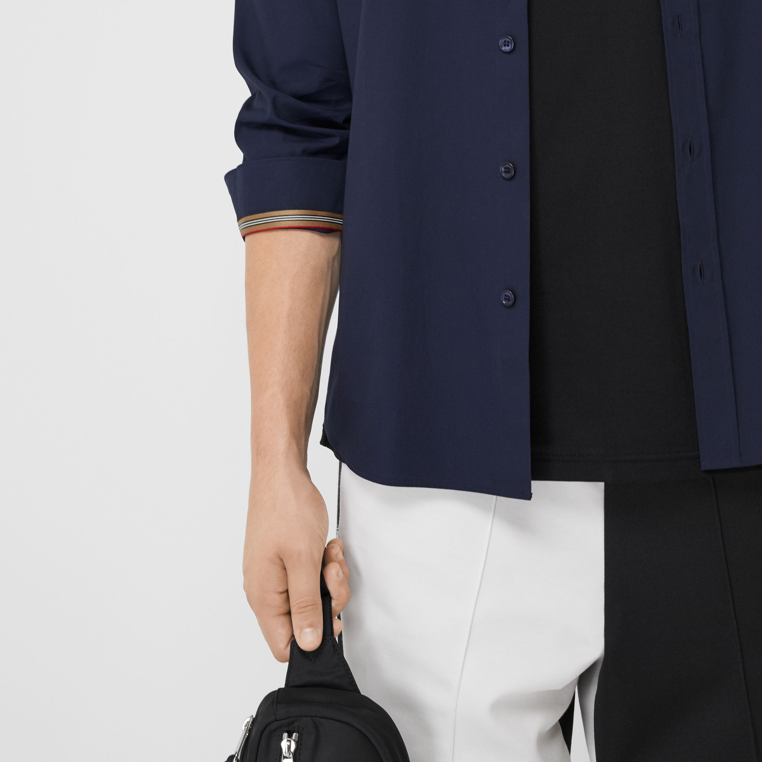 Monogram Motif Stretch Cotton Poplin Shirt in Navy - Men | Burberry United Kingdom - 2