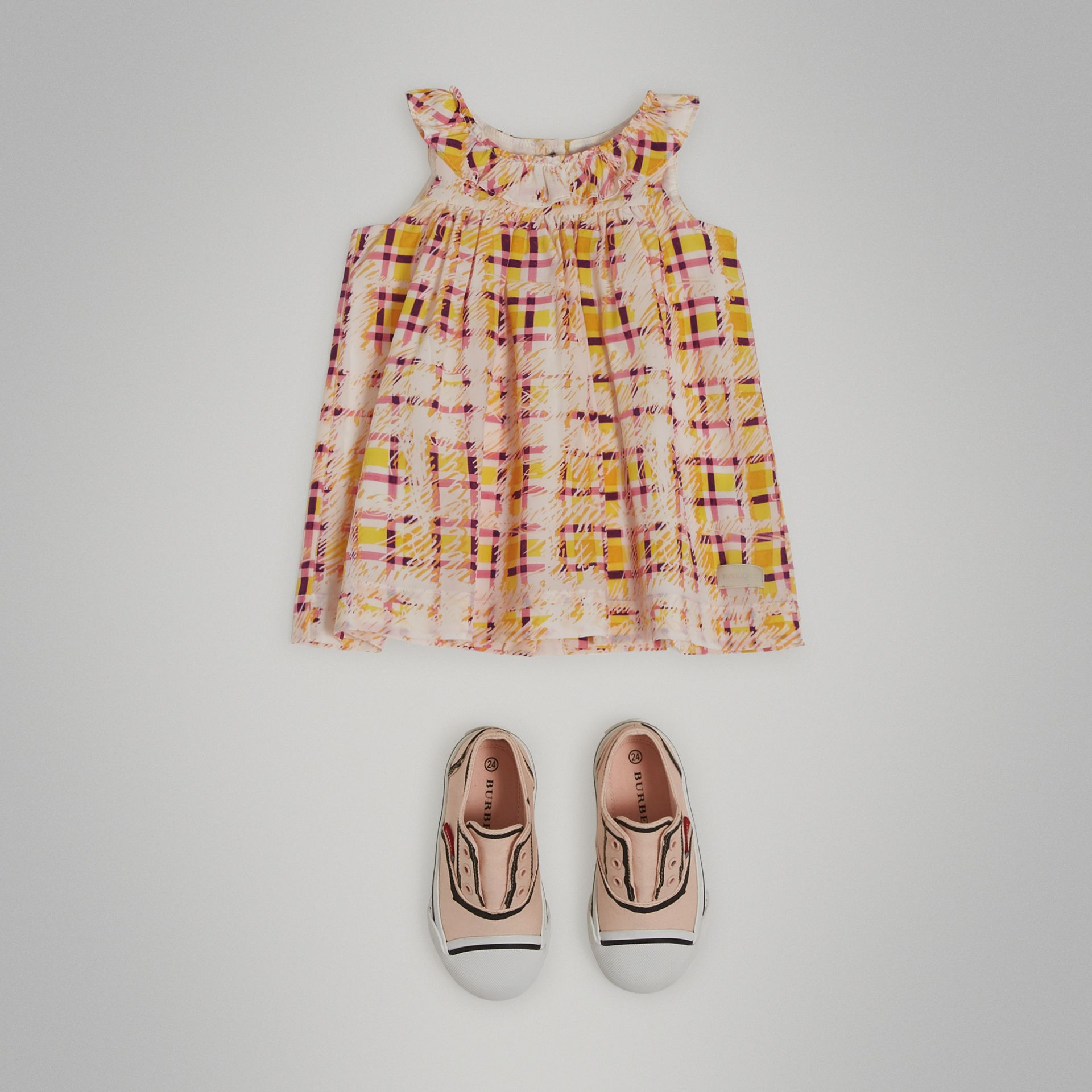 Gathered Scribble Check Print Silk Dress in Amber Yellow - Children | Burberry - gallery image 2