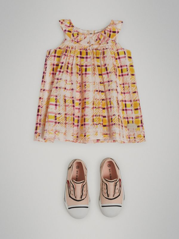 Gathered Scribble Check Print Silk Dress in Amber Yellow - Children | Burberry - cell image 2