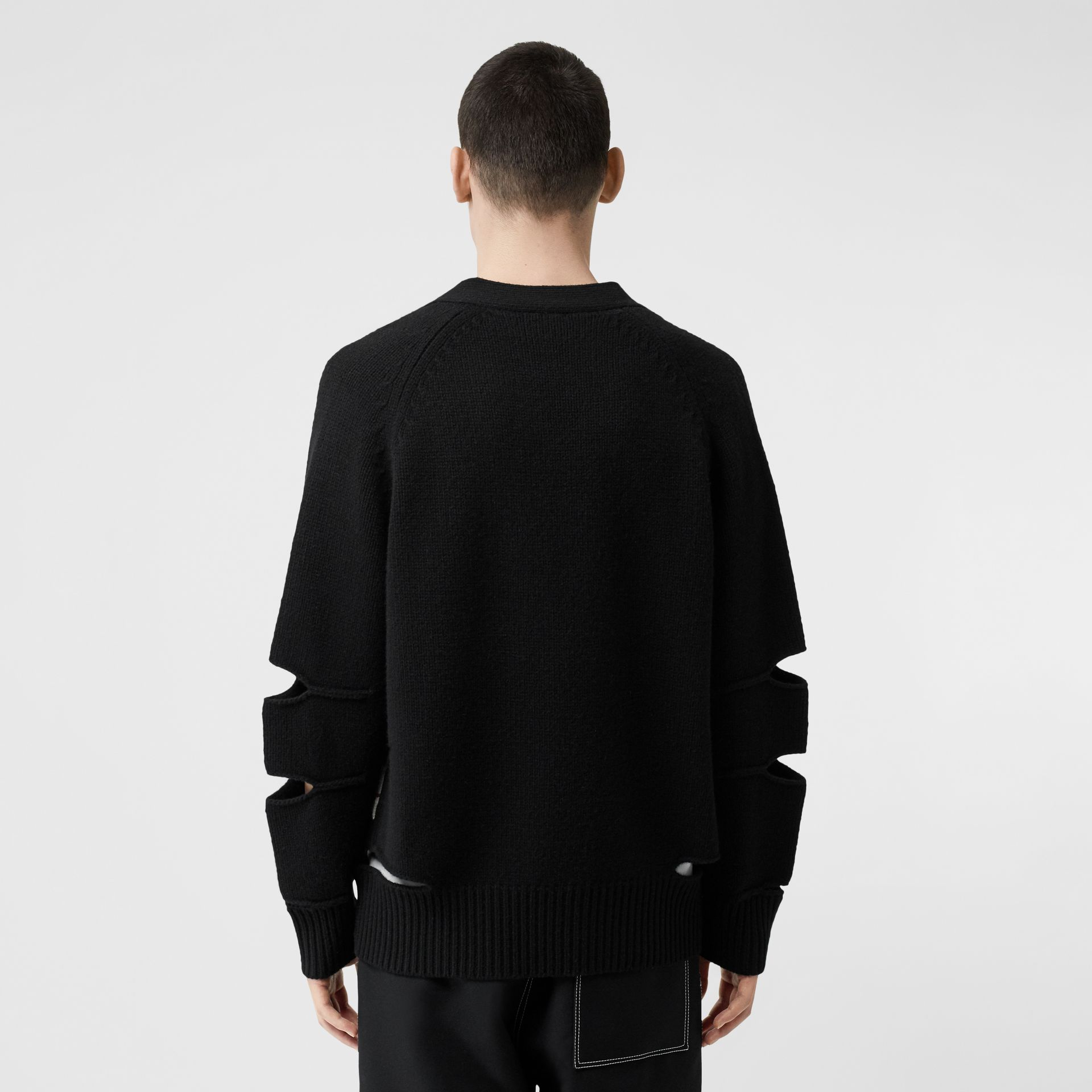 Cut-out Detail Merino Wool Cashmere Cardigan in Black - Men | Burberry - gallery image 2