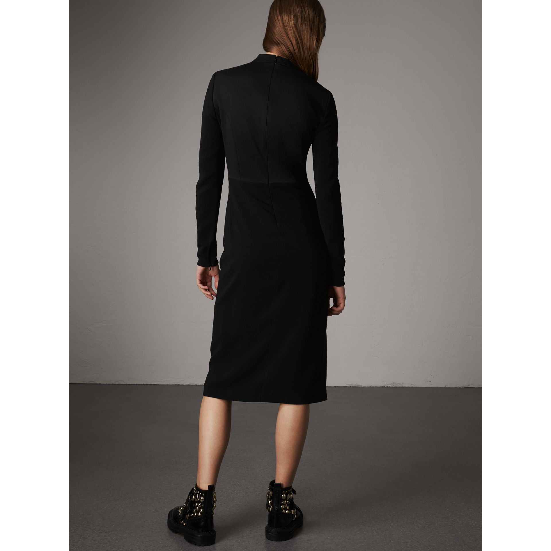 Tailored Panel Crepe and Wool Dress in Black - Women | Burberry - gallery image 3