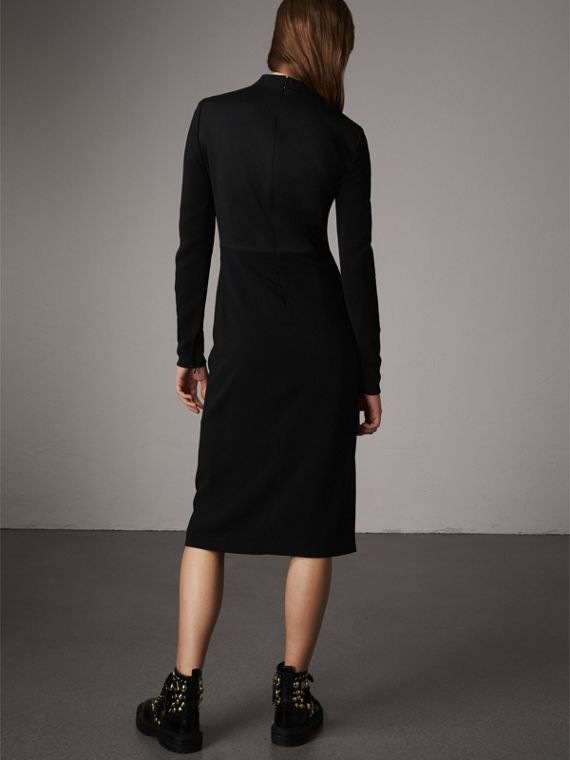Tailored Panel Crepe and Wool Dress in Black - Women | Burberry - cell image 2