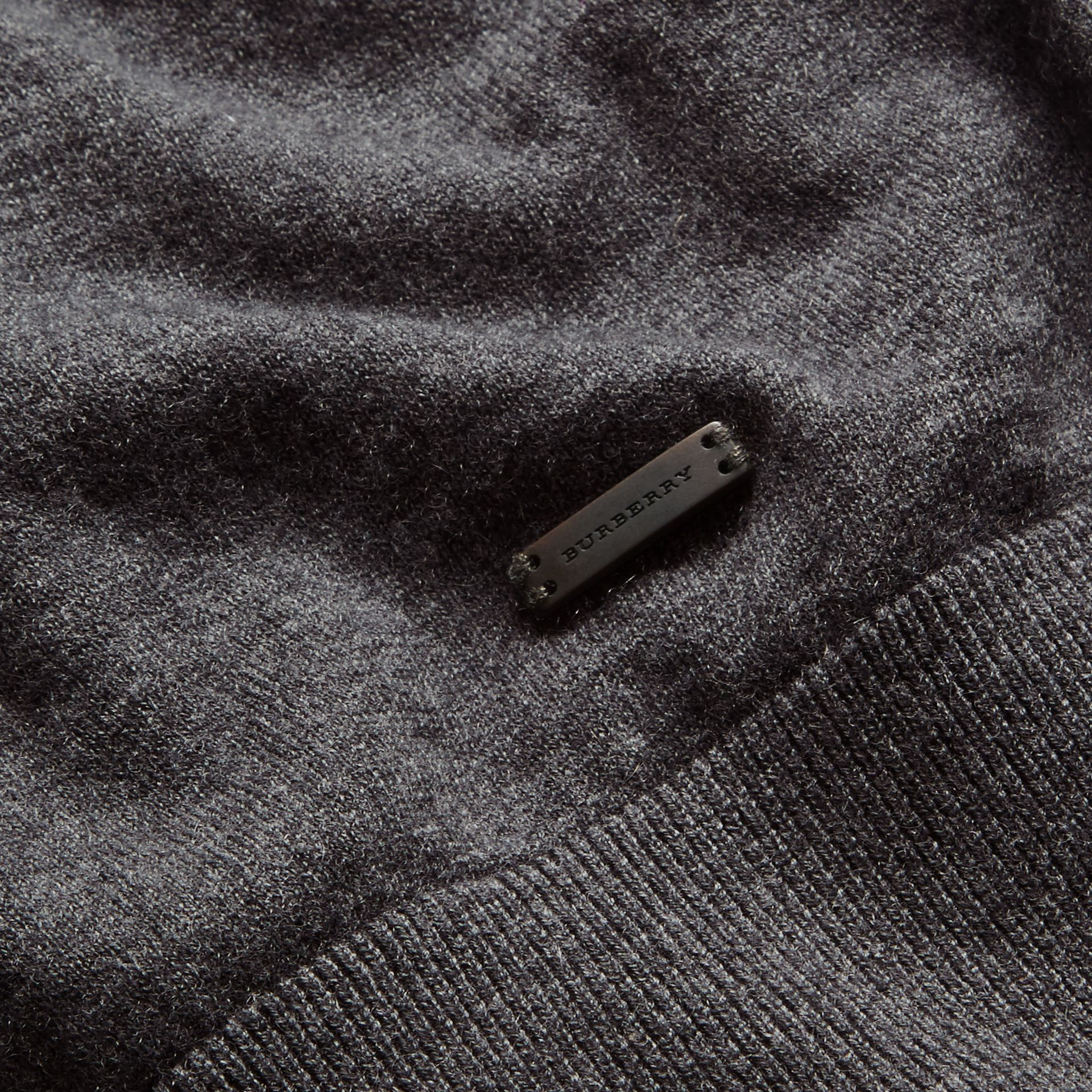 Dark grey melange Colour Block Cashmere Cotton Sweater - gallery image 2