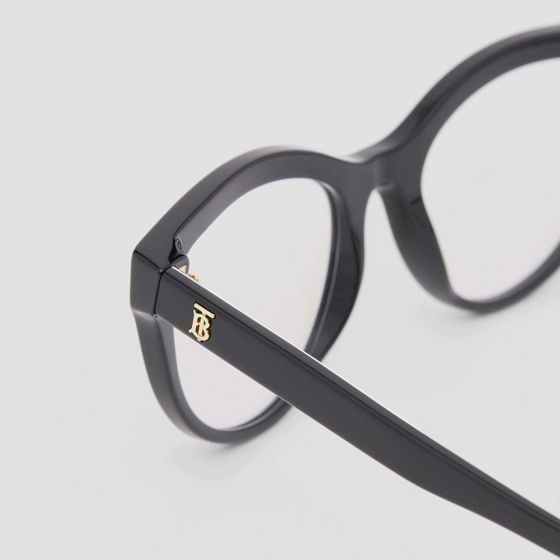 Monogram Print Detail Cat-eye Optical Frames in Black/vermilion - Women | Burberry Canada - gallery image 1