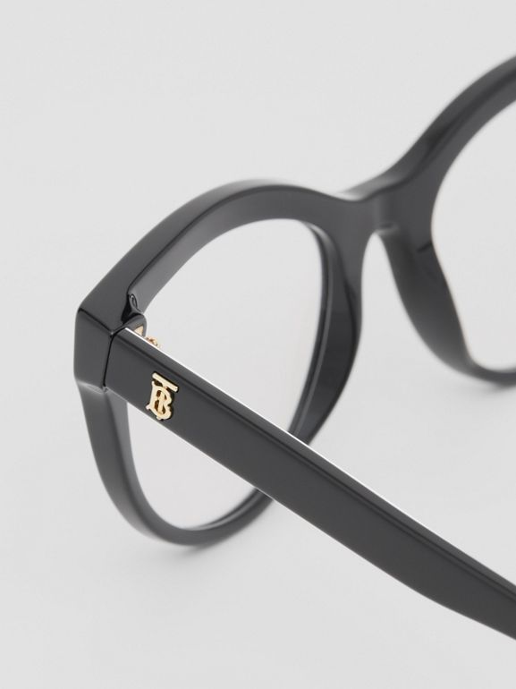 Monogram Print Detail Cat-eye Optical Frames in Black/vermilion - Women | Burberry - cell image 1