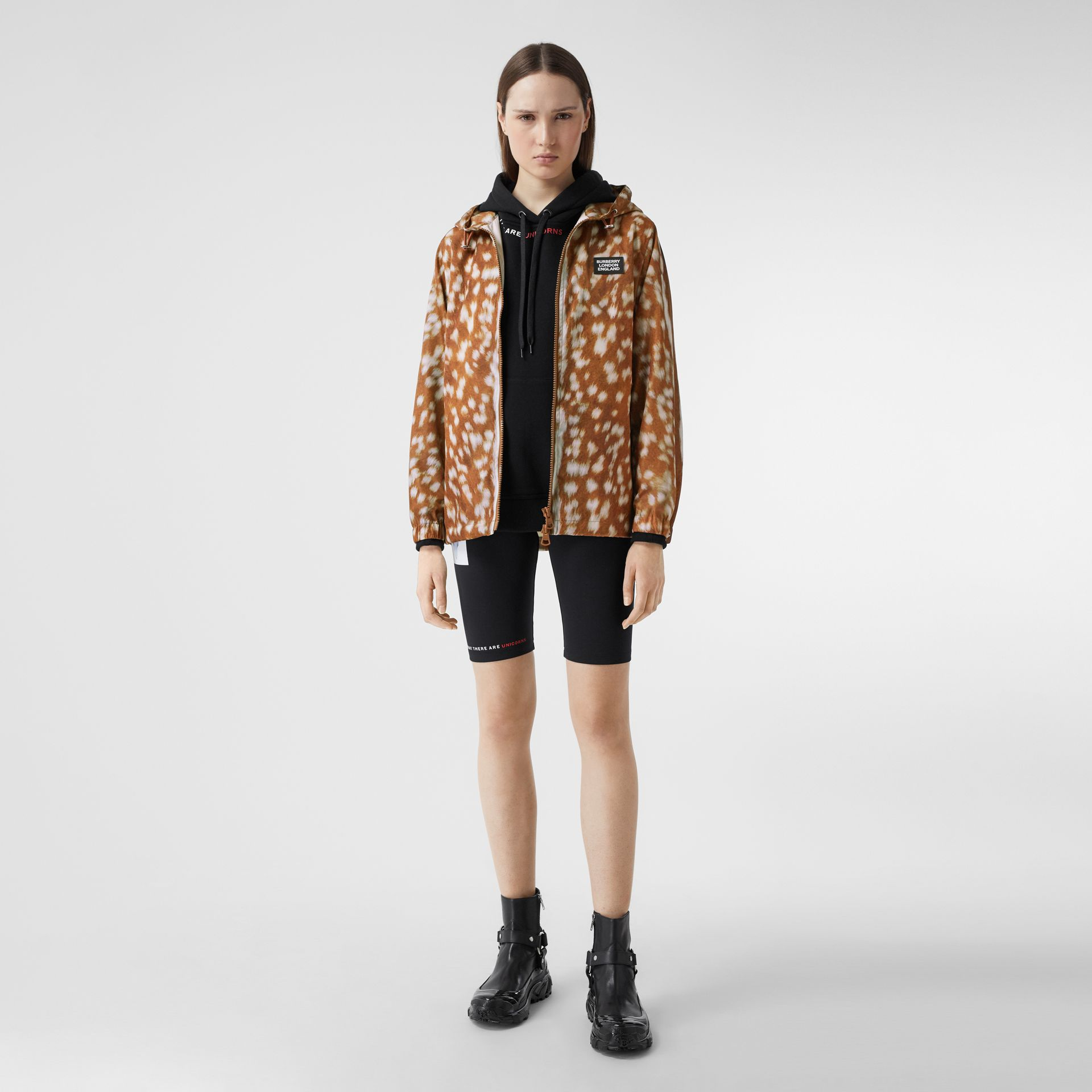 Deer Print ECONYL® Hooded Jacket in Honey - Women | Burberry - gallery image 0