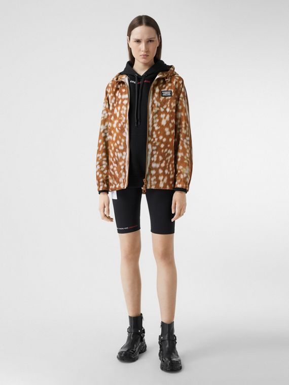 Deer Print ECONYL® Hooded Jacket in Honey