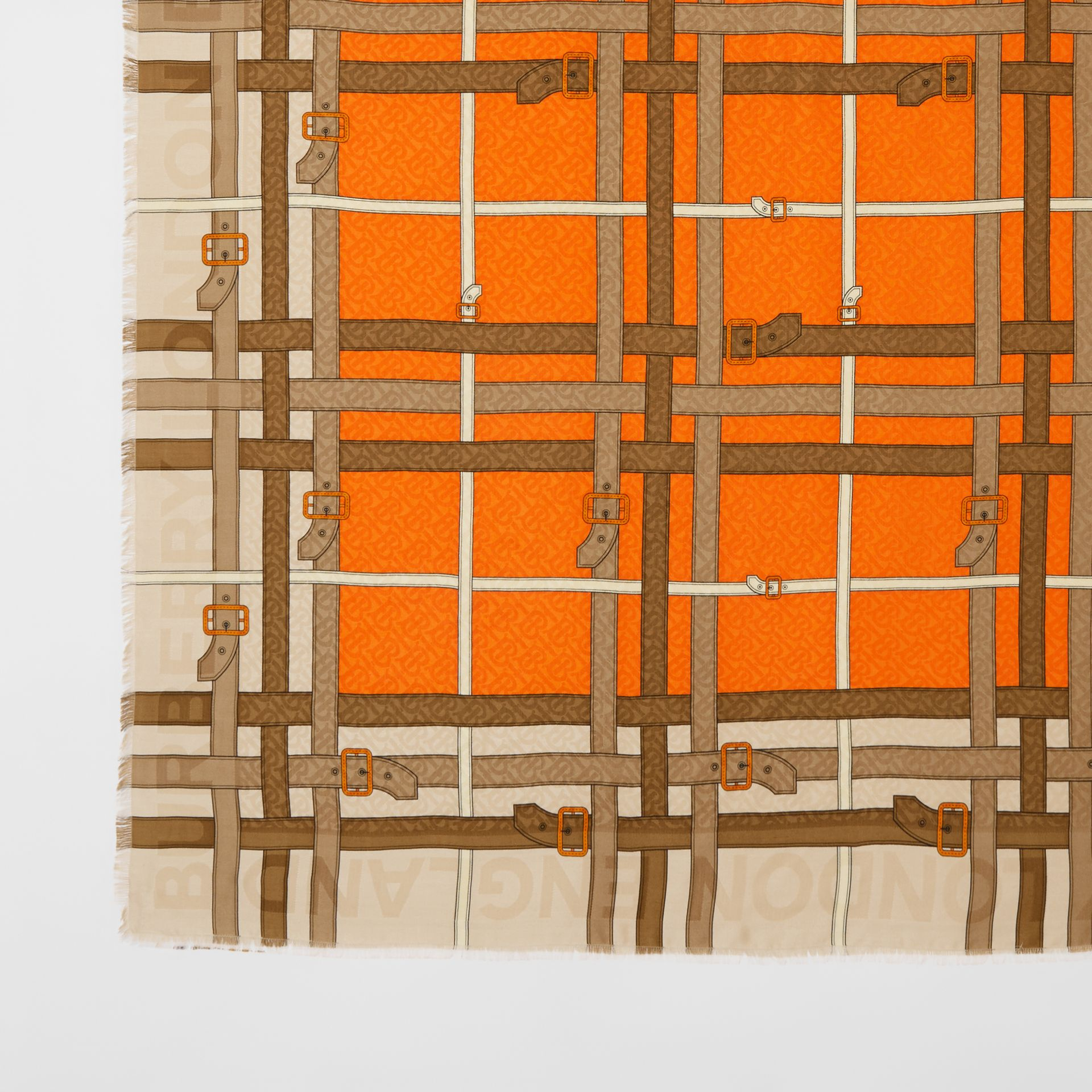 Archive Scarf Print Silk Wool Large Square Scarf in Bright Orange | Burberry - gallery image 1