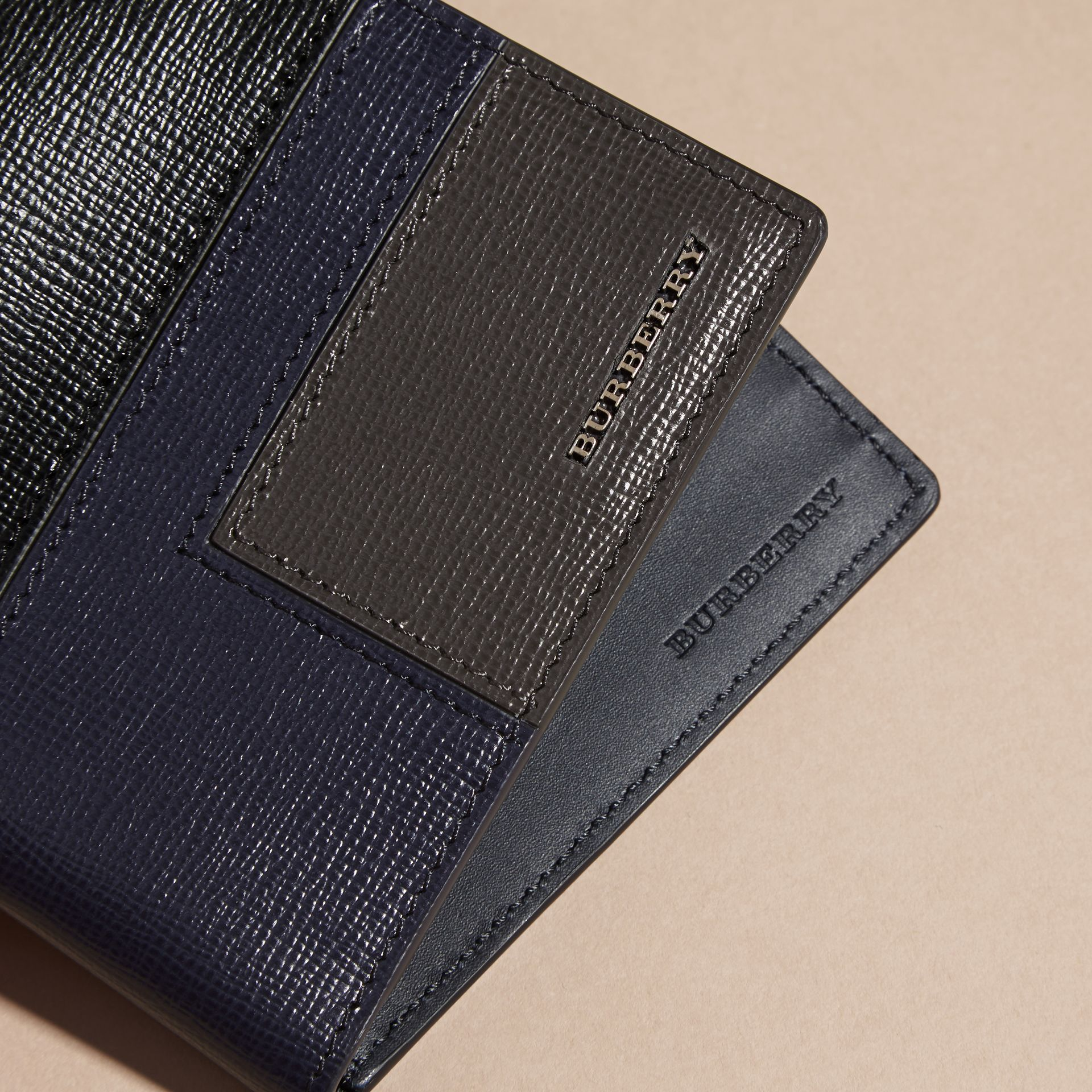 Dark navy Patchwork London Leather Folding Wallet Dark Navy - gallery image 2