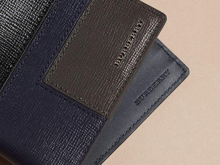 Dark navy Patchwork London Leather Folding Wallet Dark Navy - cell image 1