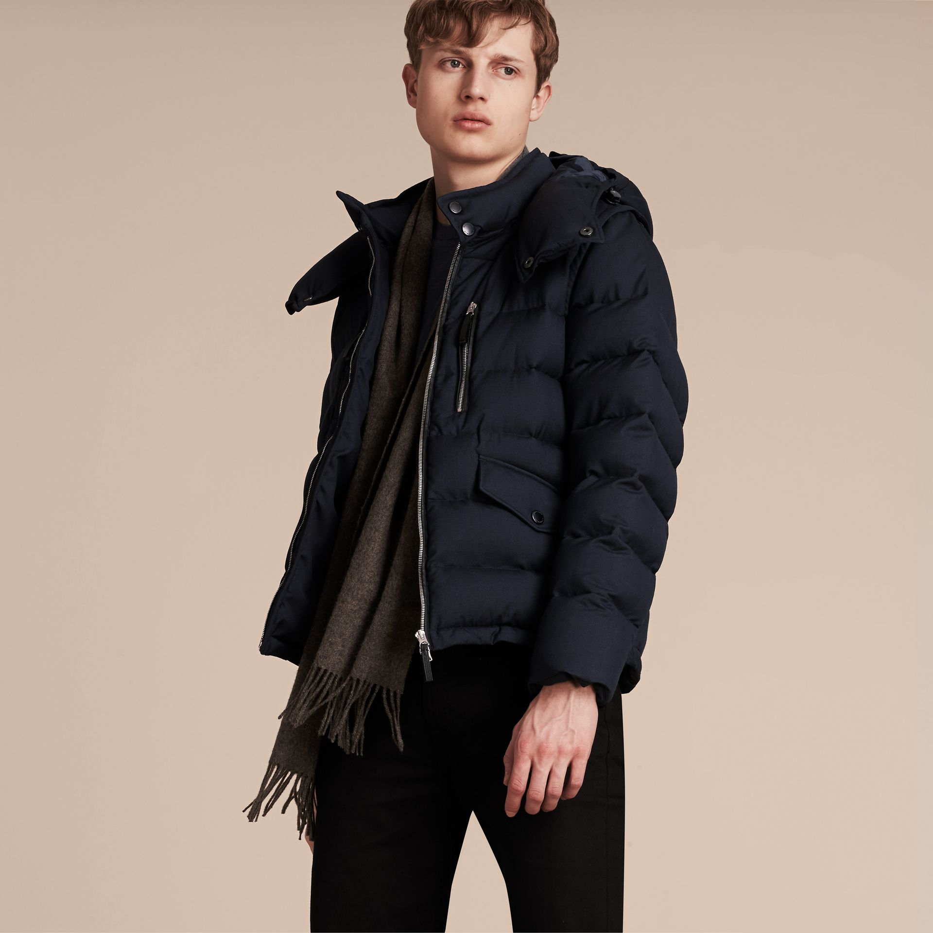 Navy Down-filled Silk Wool Puffer Jacket - gallery image 7