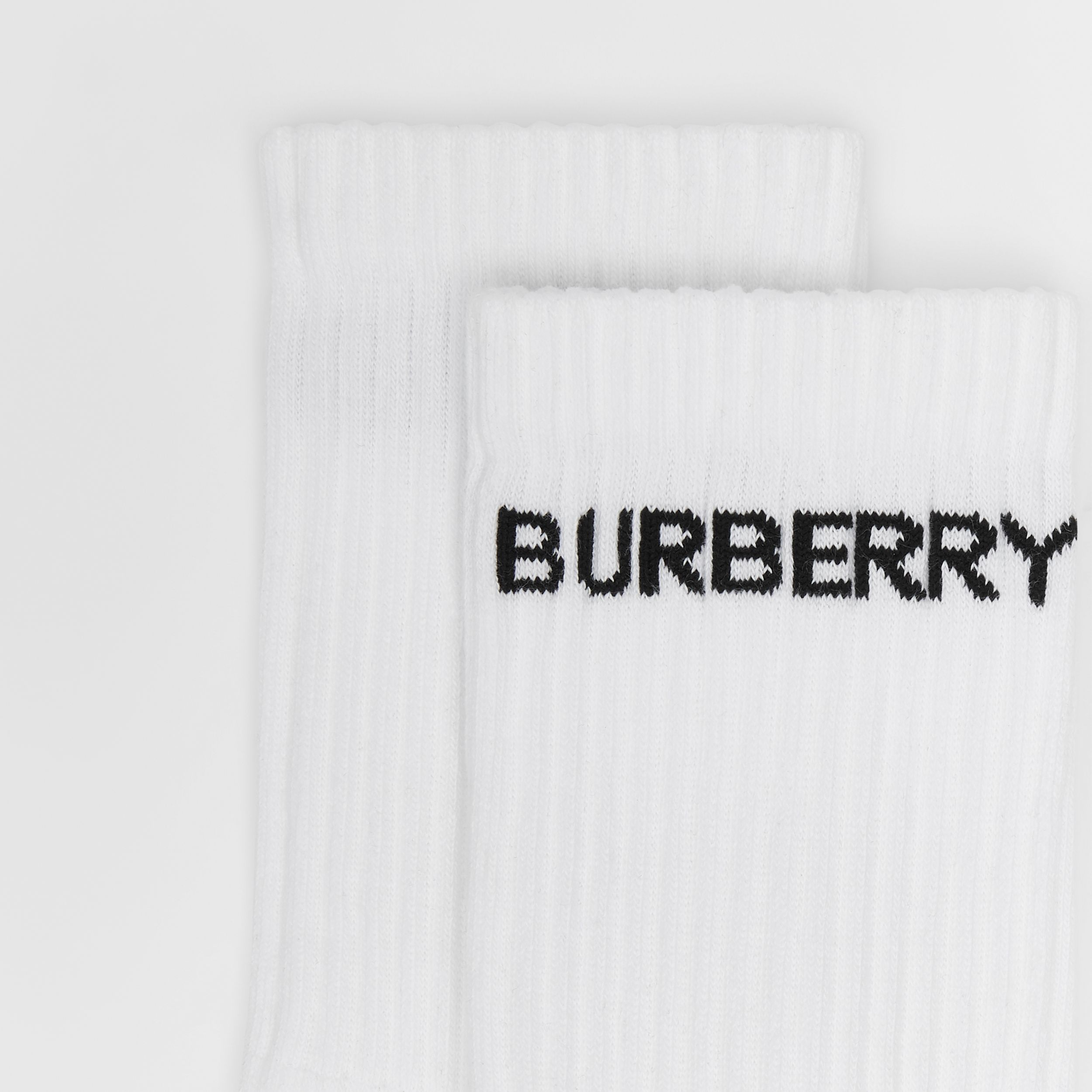 Logo Intarsia Technical Stretch Cotton Socks in White | Burberry - 2